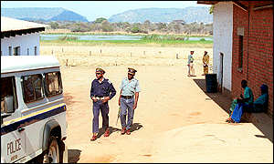 Police officers on farm