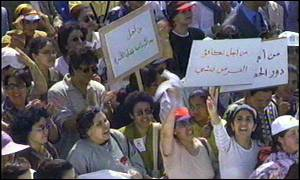 Moroccan women demand their rights: But their was an even larger demonstration by Islamist women