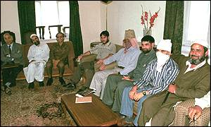 Representatives of Indian government and Hizbul at a meeting