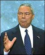 Colin Powell addressing the Republican convention