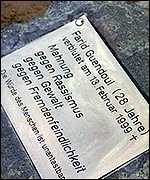 Memorial plaque to Farid Guendol