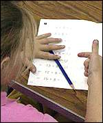 girl doing sums counting on fingers