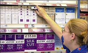 Cigarettes for sale in a supermarket