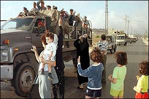 Civilians welcoming Lebanese forces