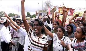 Left wing protesters in Sri Lanka