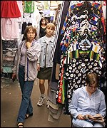 Shoppers at a Moscow market