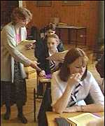 Pupils in exam