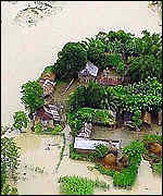Ariew view of flooded homes