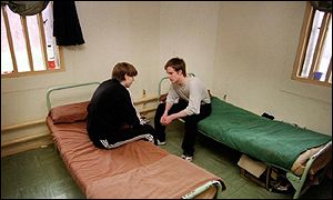 Offenders in a cell at Feltham Young Offenders Instiution