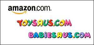 Logos of Amazon, Toys R Us and Babies R Us