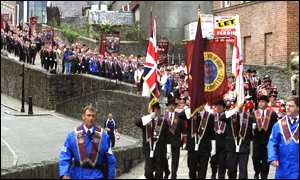 The Apprentice Boys walk around the city's historic walls