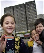 Refugee children at council flats in Scotland