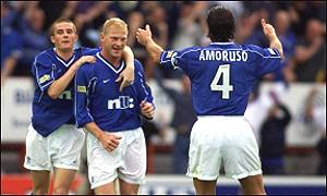 Jorg Albertz is congratulated after scoring his second goal