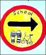 walking bus sign drawn by pupils