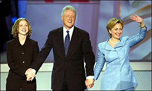 Chelsea (left), Bill and Hillary Clinton