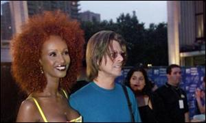 Iman and David Bowie pictured in New York last year