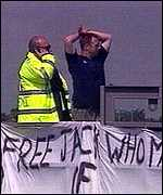 John Whomes makes M25 protest