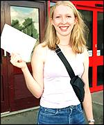Laura Spence collecting A-level results