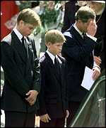 Prince William at the funeral of Diana, Princess of Wales