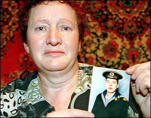 Sofya Leonova's son, sergeant-major Dmitry Leonov, is on the sunken submarine