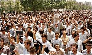 Student protests after the police raided a student hostel, killing one person, in July 1999