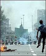 Pro-democracy protests in Tehran in July 1999