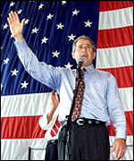 George W Bush addressing a rally