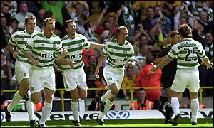 Celtic celebrate one of their six goals at Parkhead