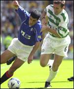Claudio Reyna and Alan Stubbs battle at Parkhead