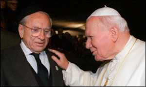 Pope John Paul II greets World War II death camp survivor Jerzy Kluger,
