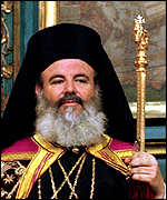 [ image: Archbishop Christodoulos of Athens prepares to give his enthronement address]