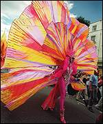 A rainbow coloured costume