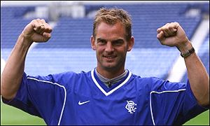 Ronald de Boer being paraded at Ibrox