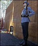 Memorial wall listing Polish officers killed