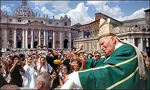 Pope John Paul II in front of the crowd at St Peters