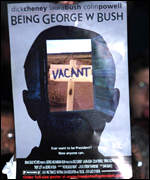 Banner depicting George W Bush