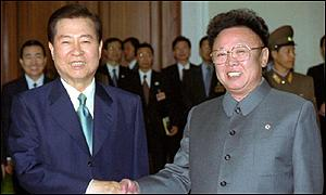 North Korean leader Kim Jong Il, right, and South Korean President Kim Dae-jung