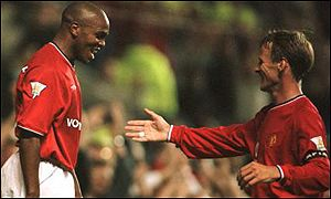 Teddy Sheringham (right) and Quinton Fortune