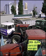 Trucks blockade a French fuel depot