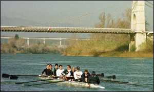 Oxford boat team on Ebro river