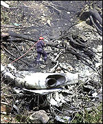 Wreckage of crashed plane