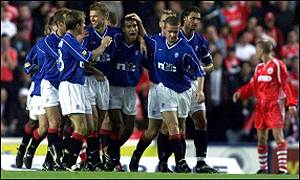 Celebrations after Giovanni van Bronckhorst's opener