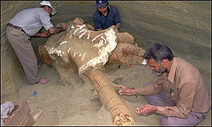 Indian geologists digging up an elephant fossil in Kashmir