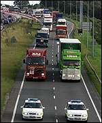 Lorries on A1