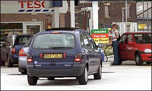 Motorists queue for petrol at a Merseyside petrol station