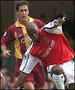 Wiltord on his full debut gets away from Ward
