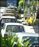 Motorists queue for petrol at Swadlincote, South Derbyshire