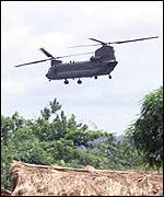 Chinook helicopter in Sierra Leone