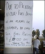 Notice telling customers they can only buy �5 worth of petrol