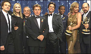 The West Wing cast: Bradley Whitford, Janel Moloney, John Spencer, Martin Sheen, Rob Lowe, Dule Hill, Allison Janney and Richard Schiff